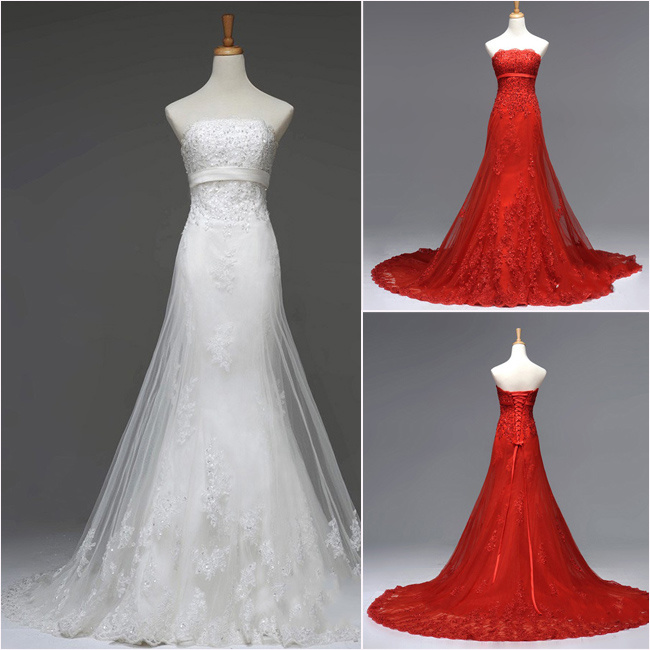 White Wedding Dresses With Red Lace - Overlay Wedding Dresses