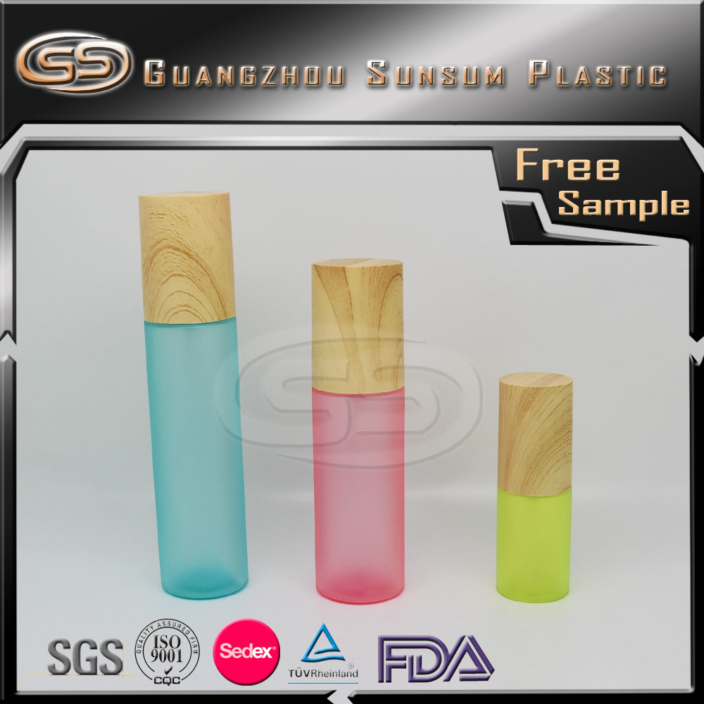 Bamboo Fiber Material on Cylinder Wood Pet Plastic Cosmetic Bottle