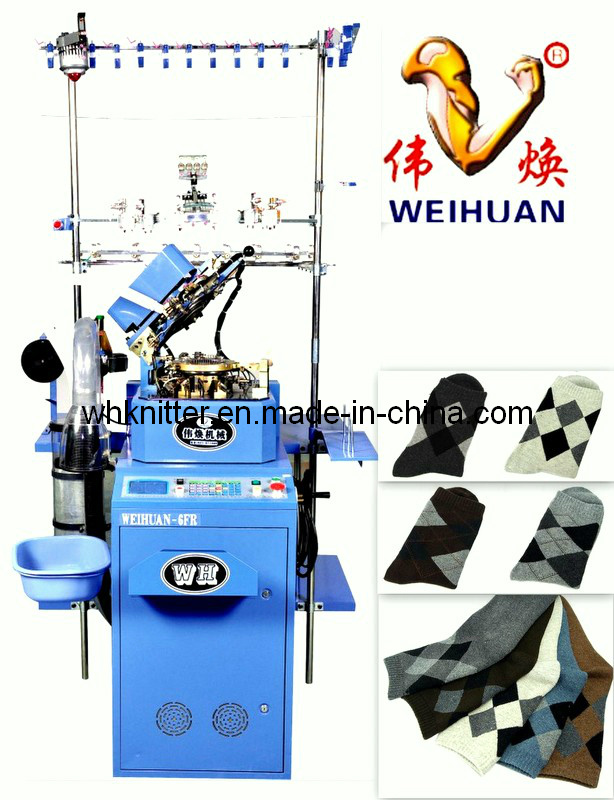Weihuan (WH) Twin Feeder Computerized Socks Knitting Machine for Weaving Terry and Plain Socks (WH-6F-R)