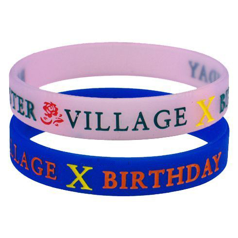 Promotional Fashion Logo Debossed Ink Filled Silicone Bracelet