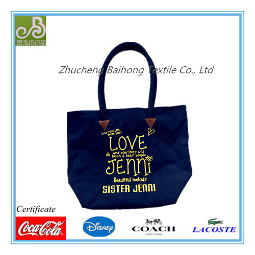 Big Denim Shopping/ Tote Bag with Printing
