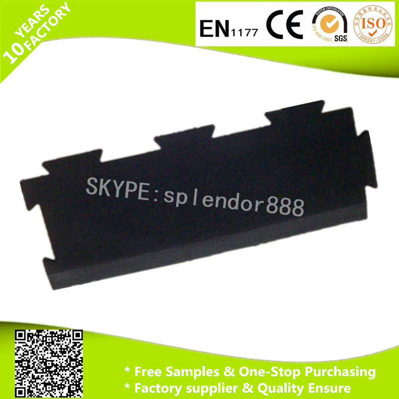 Rubber Edge and Ramps for Indoor Fitness Interlock Rubber Gym Flooring