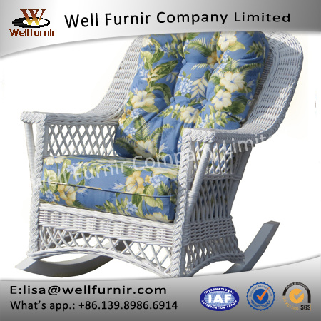 Well Furnir Wicker Rocker Chaise Lounges with Braided Trim T-028