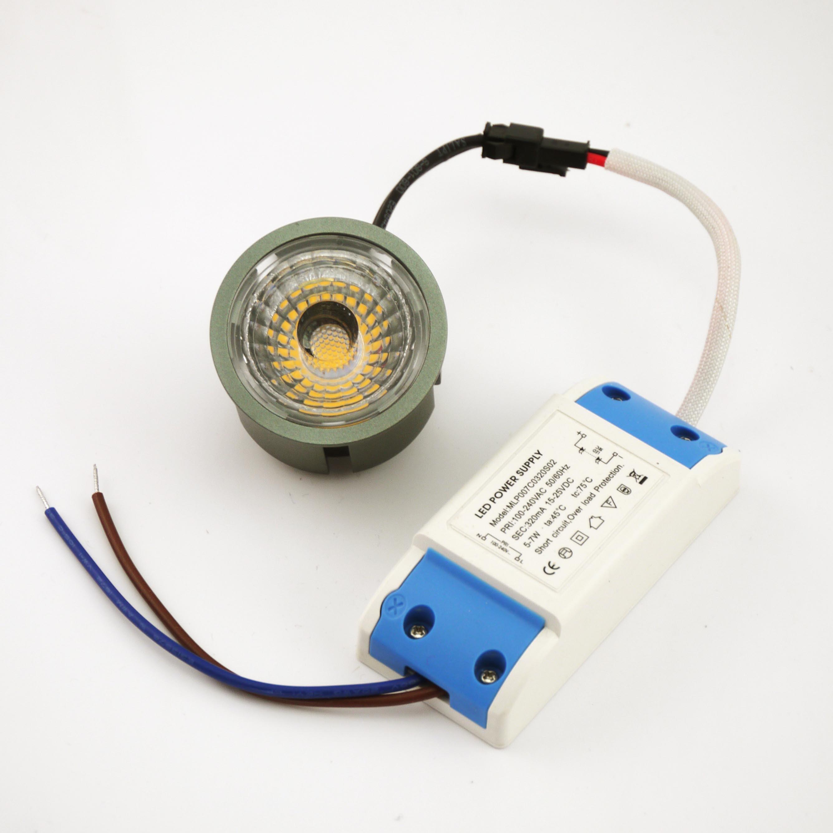 Aluminum 7W COB LED Recessed Downlight Bulb (external power supply) Lt8003-7W