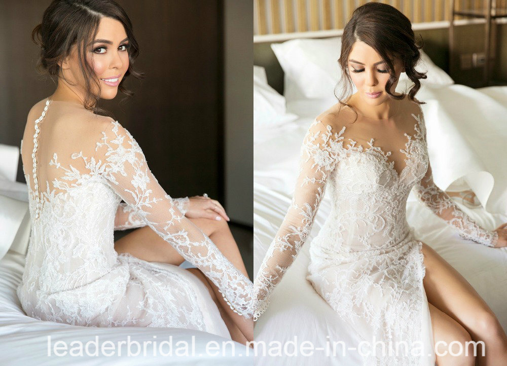 Lace Bridal Gowns Extra Train Buttons Back Wedding Dress M2017