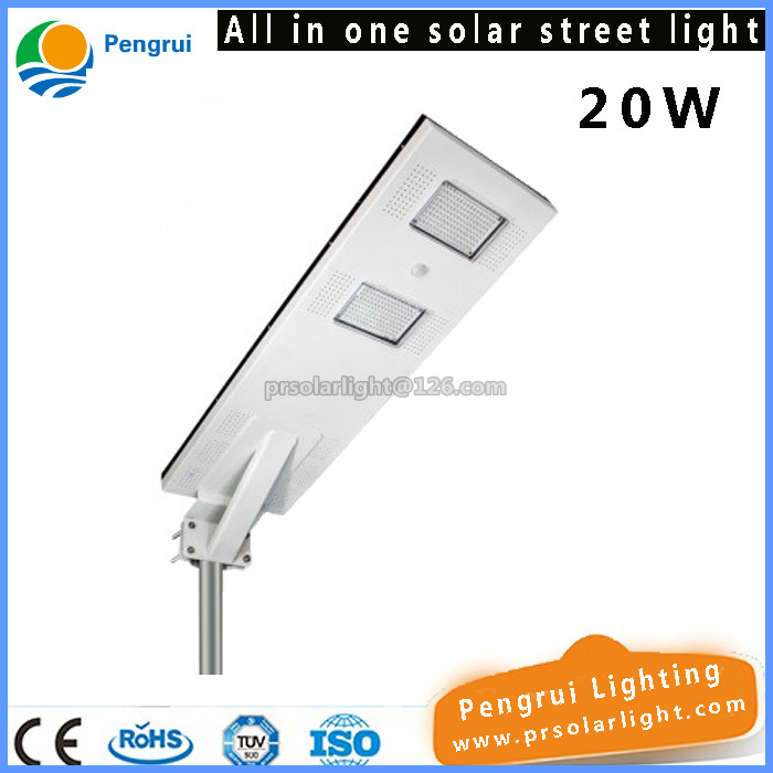 All in One 20W LED Solar Street Light for 7-8m Pole with Lithium Ion Battery