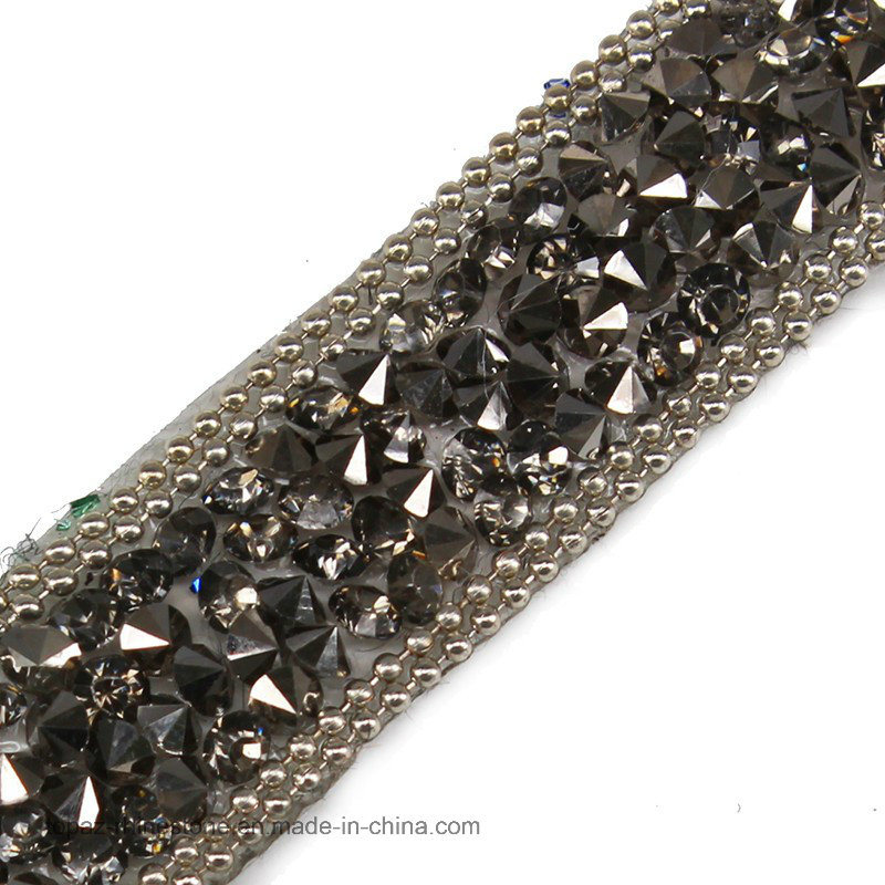 Beaded Rhinestones Trim Chain Iron on Hotfix Crystal Reel Chain (TS-053 black diamond)