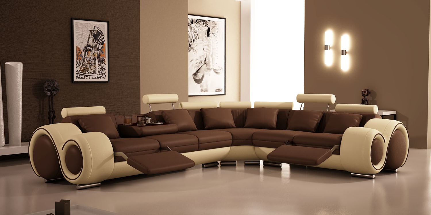Modern Sofa Furniture with Corner Recliner Sofa Sectional Leather Sofa