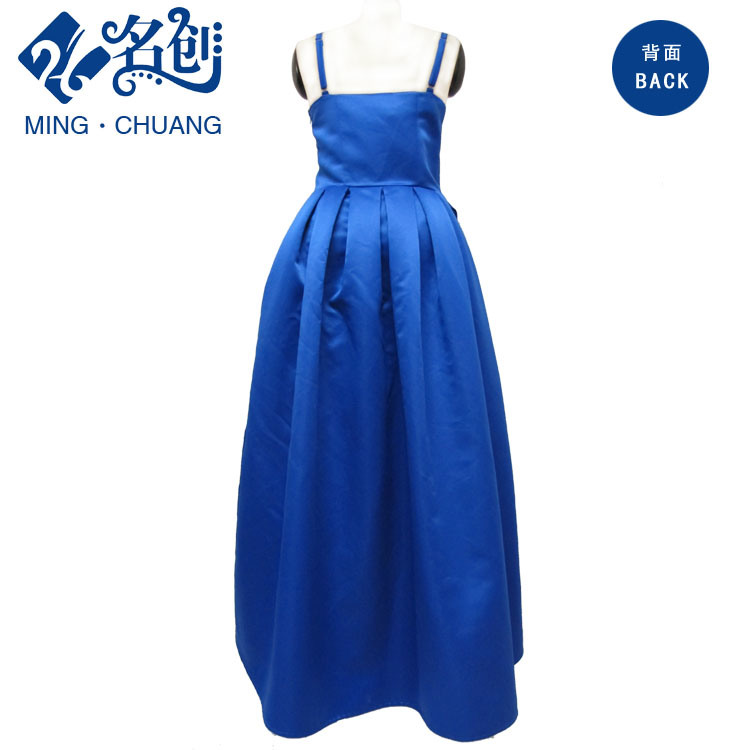 Blue Slimmering-Waist Pleated Waistband Sexy Ladies Fashion Long Party Dress