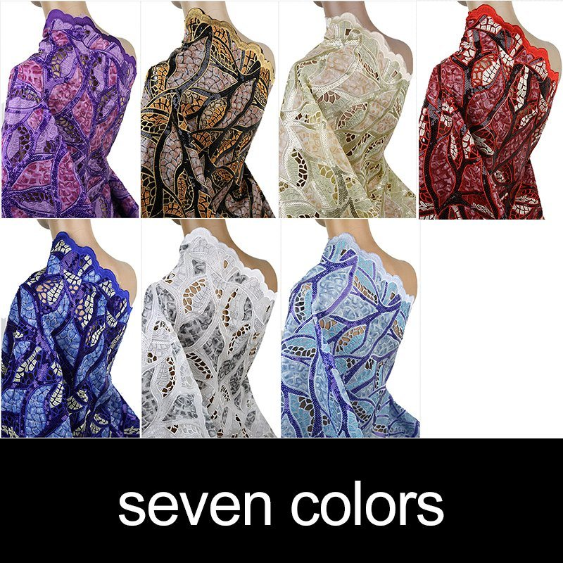 Handcut Sequence Lace Garment Fabric for Wedding Dress