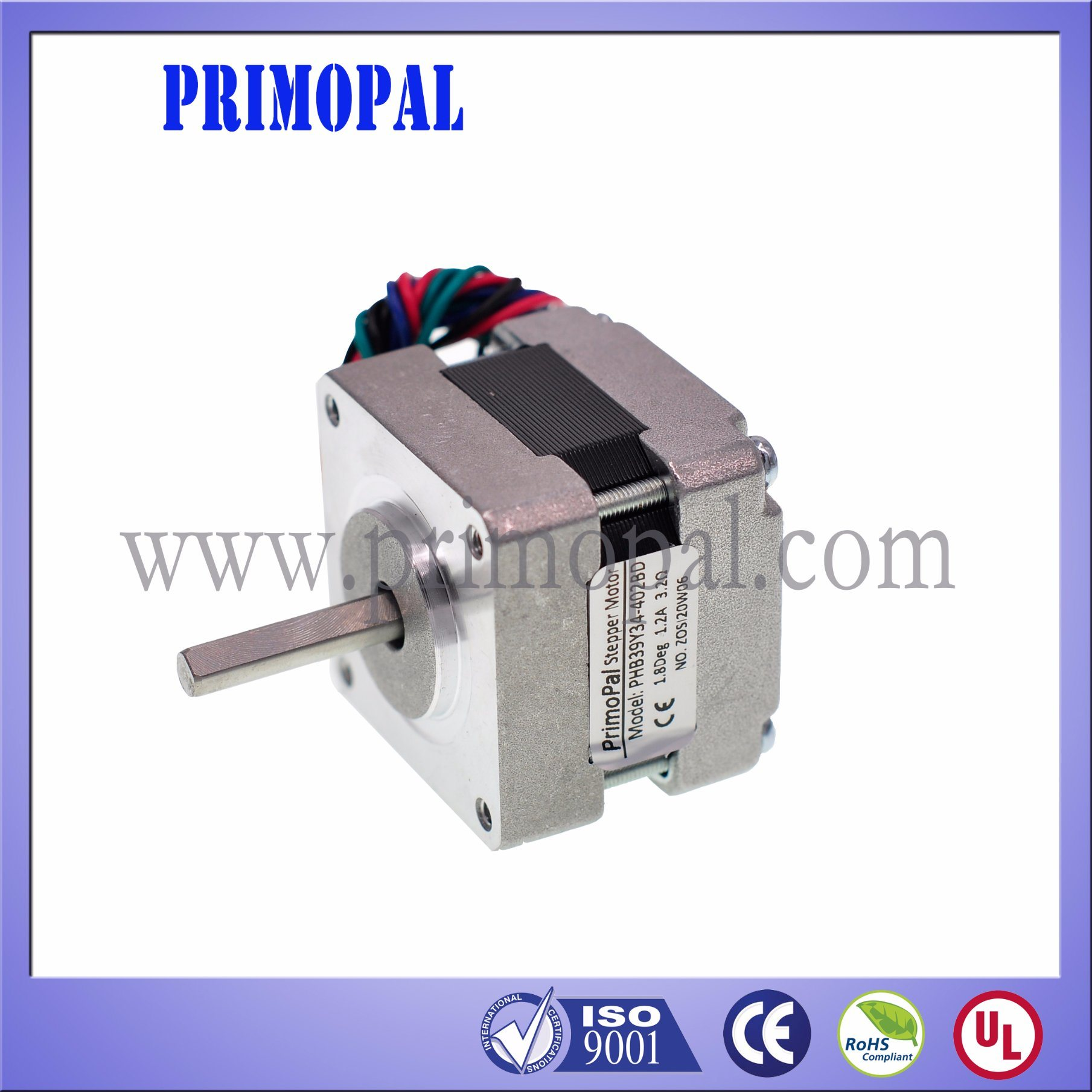 0.6A 0.9 Degree 2 Phase NEMA 16 Stepper Motor for CNC