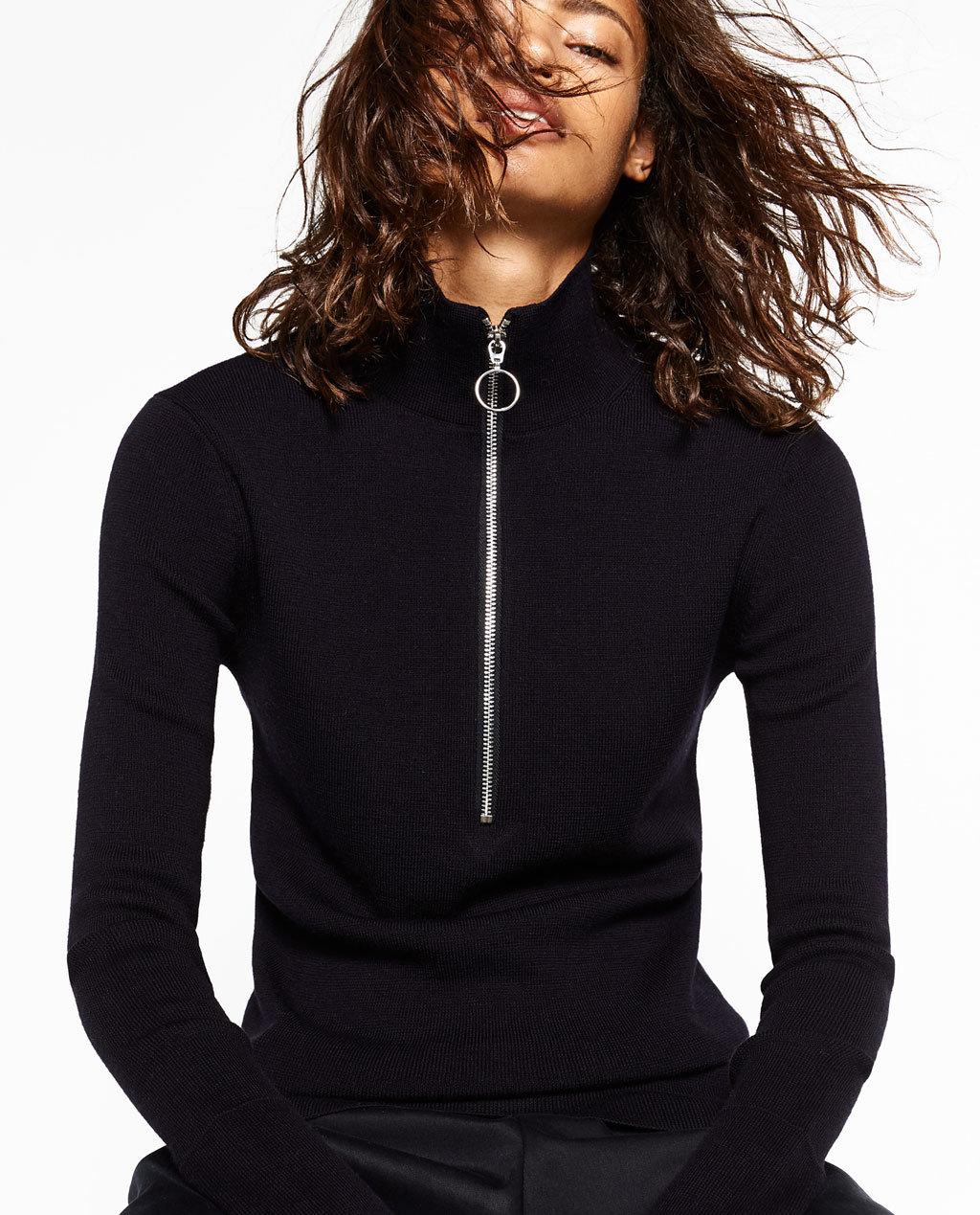 Fashioned Women Knitting Sweater with Zipper