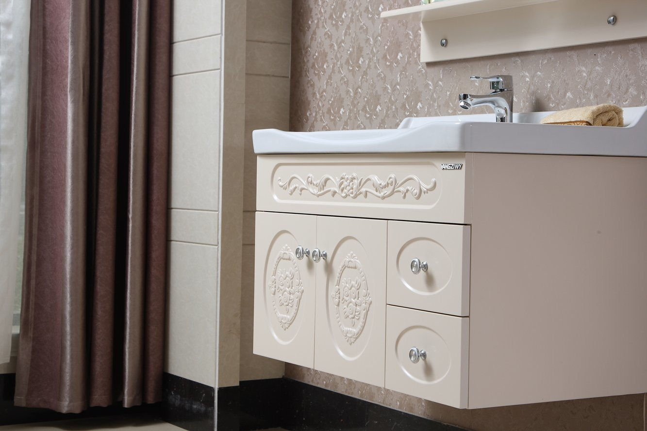 Wall-Mounted Modern Style Solid Wood Bathroom Cabinet