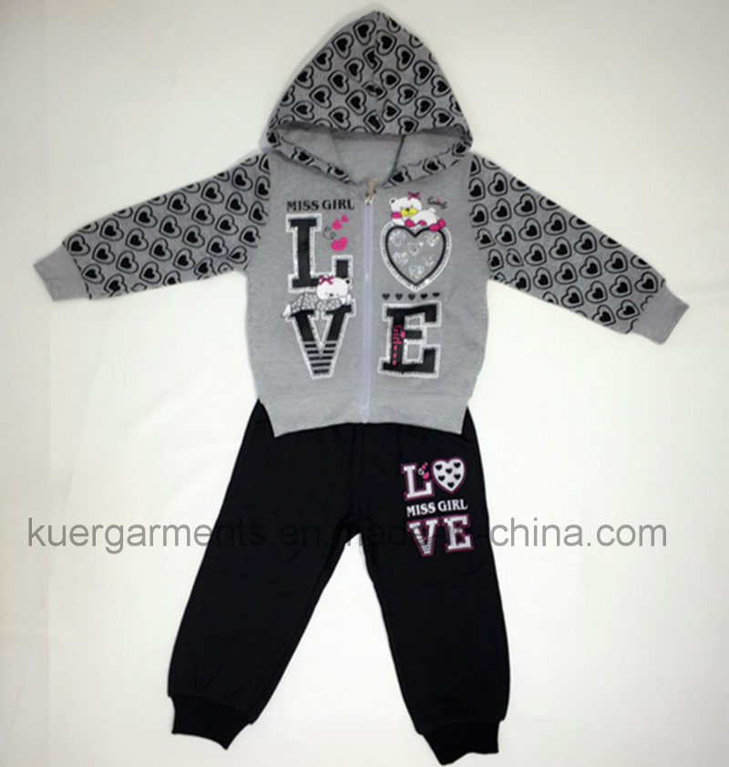 New Style Children Wear Girls Sports Suit