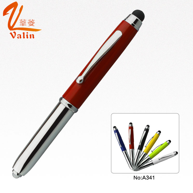 3 in 1 LED Light Metal Pen with Touch Screen
