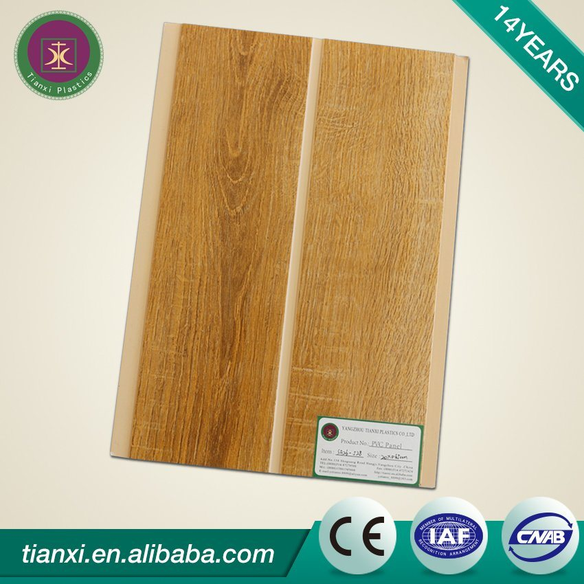 Wood Design Printing PVC Ceiling Tiles with One Groove 20cm Width