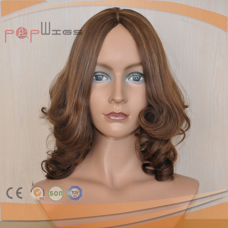 Human Blonde Remy Hair Wavy Curly Wig Type Silk Top Wigs
