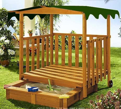 Cheap Wooden Sandpit with Roof Wooden Sandpit (09)