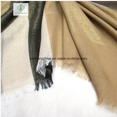 Western Style Spun Gold Plaid Shawl Fashion Lady Scarf Factory