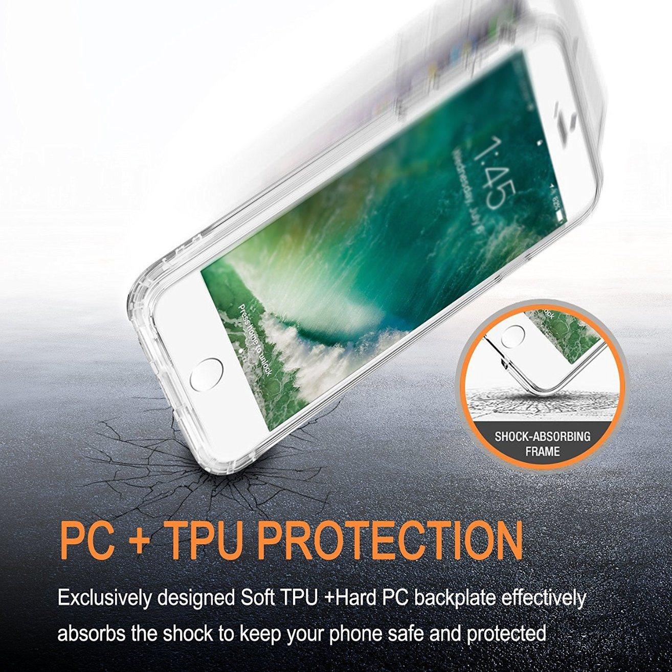 Flower Slim Scratch-Resistant TPU Bumper Cover PC Hard Case for iPhone 7