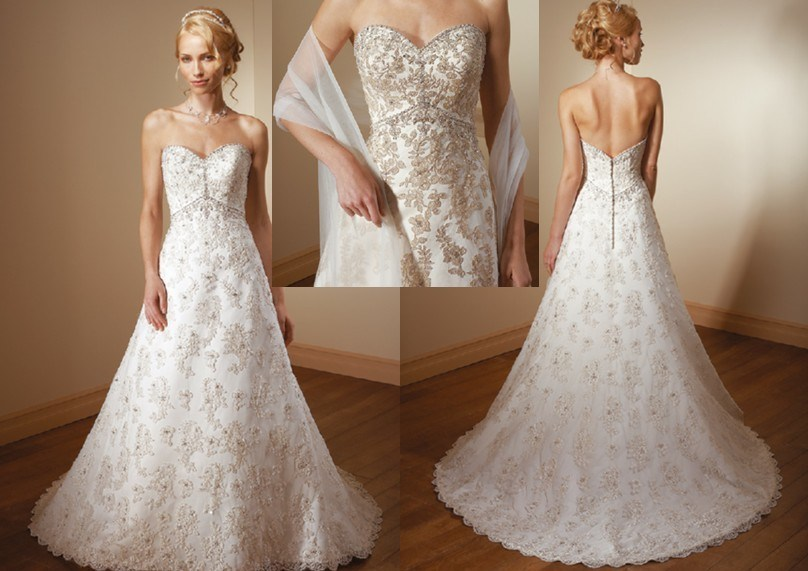 China Princess Sweetheart Neckline Chapel Train Lace Wedding Dresses WDS 5137