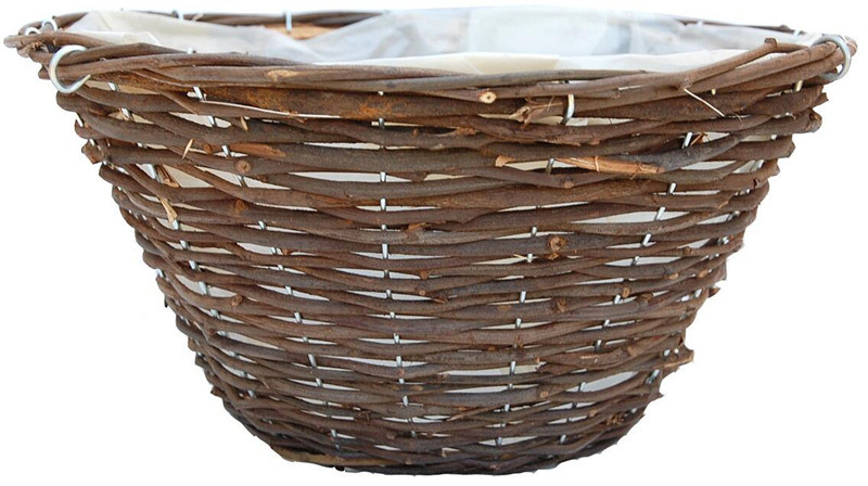 Garden Rattan Hanging Basket with Wire Hanger