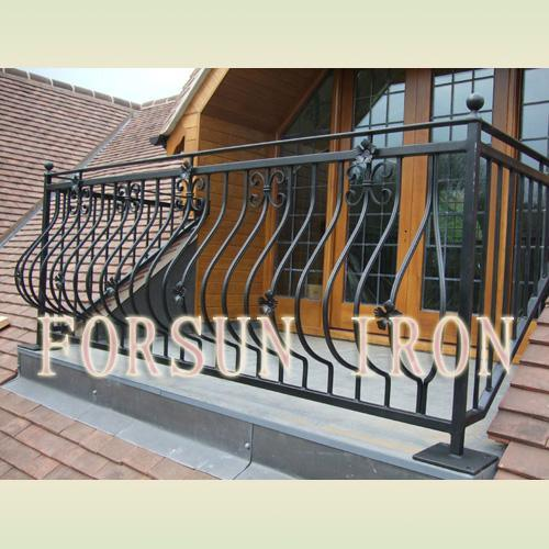 China simple wrought iron balcony railing china wrought for Simple balcony grill design