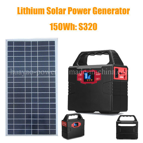 150wh Portable Solar Generator Li-Polymer Battery System with Solar Panel