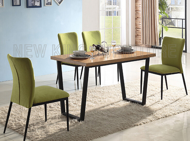 Beautiful Simple Artistic Modern Dining Furniture Square Wooden Top Dining Table Set with Steel Leg (NK-DT047)