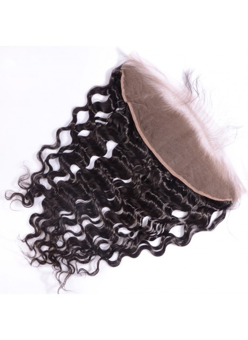 13X4deep Wave Virgin Hair Lace Frontal Closure Natural Hairline Bleached Knots Lace Frontals with Baby Hair