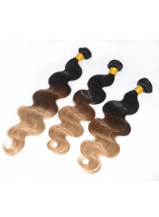 Human Hair Bundles Ombre Color Hair Weft #1b #4 #27 Extension