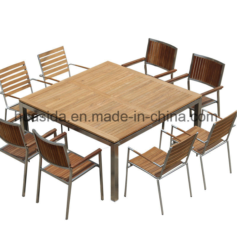 1.5*1.5m Square Stainless Steel Teak Wood Dining Table Set