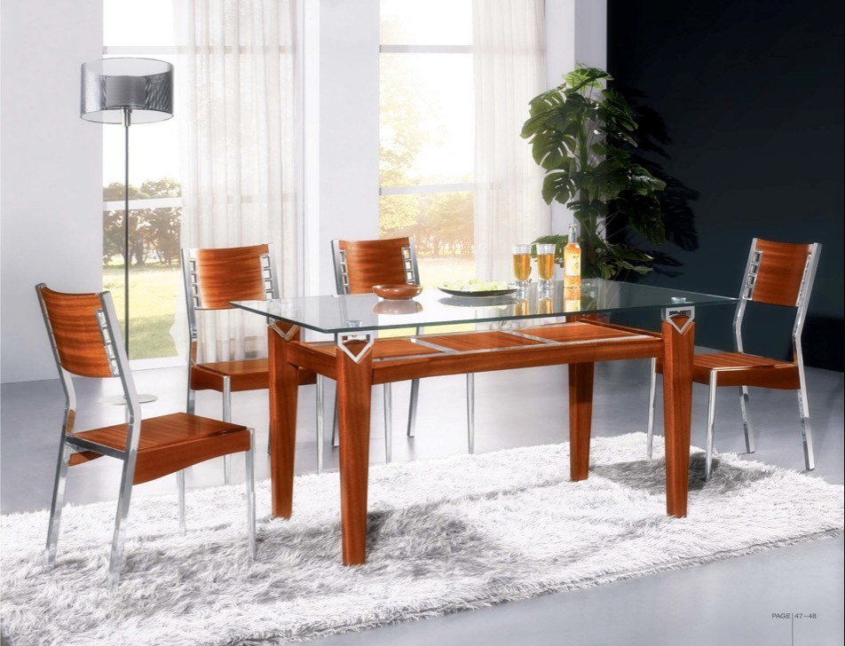 China Wood And Glass Dining Sets CT 8053 CY 7 China