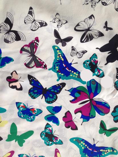 Silk Habotai Print in Butterfly Desgin