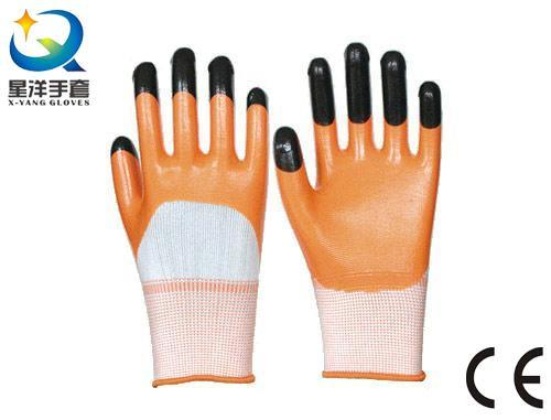 Orange Nitrile 3/4 Coated, Black Nitrile Finger Reinforced Gloves (N7001)