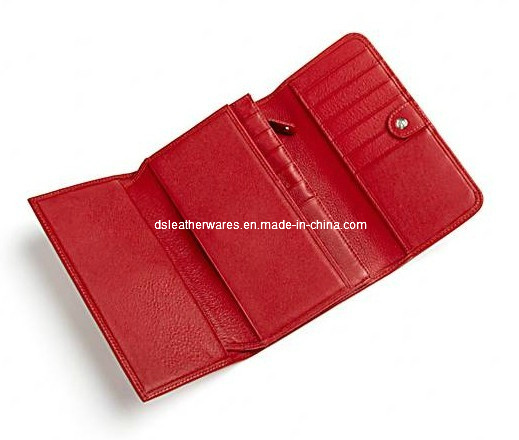 Leather Checkbook Clutch Wallet