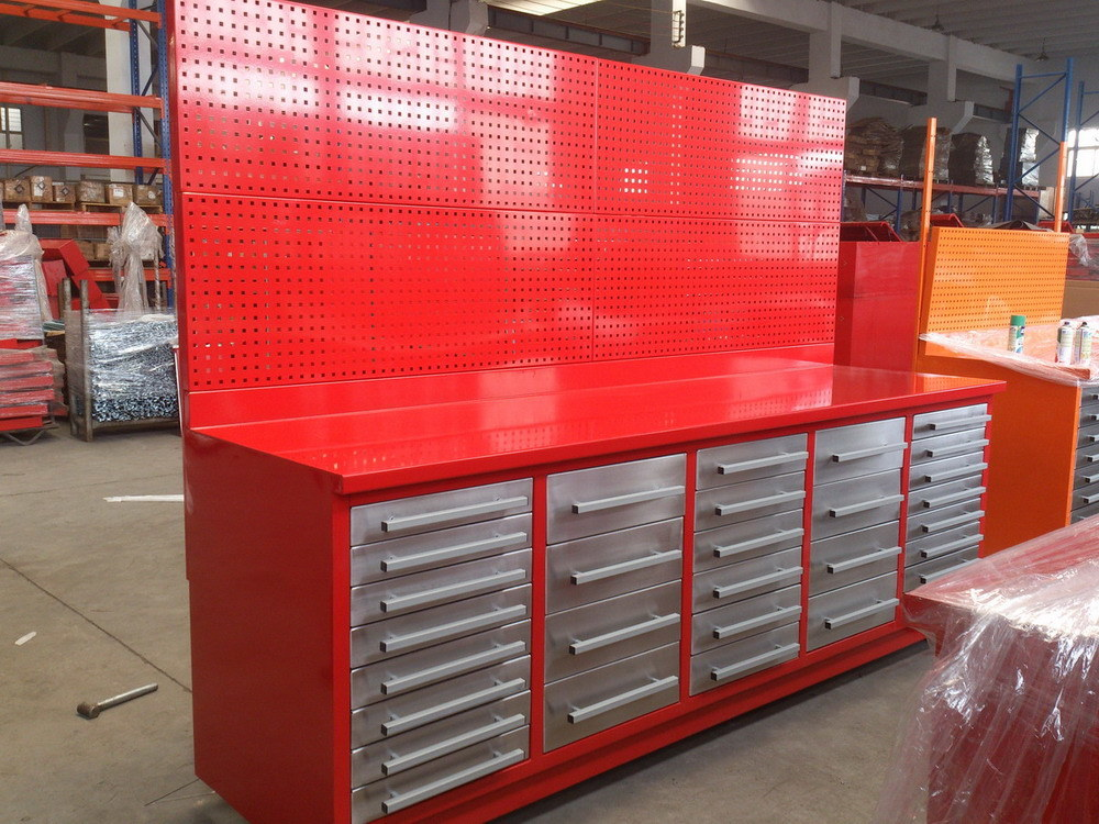 China Drawer Cabinets Tool Work Bench With Peg Board Panel