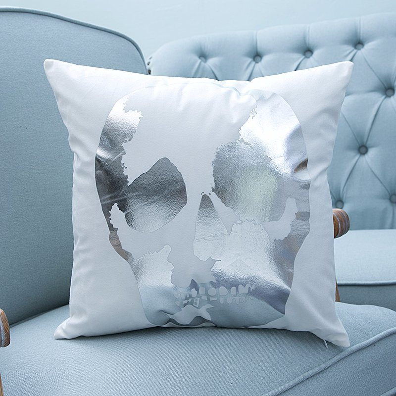 Foil/Gold&Silver Print Decorative Cushion/Pillow with Skull Pattern (MX-03)