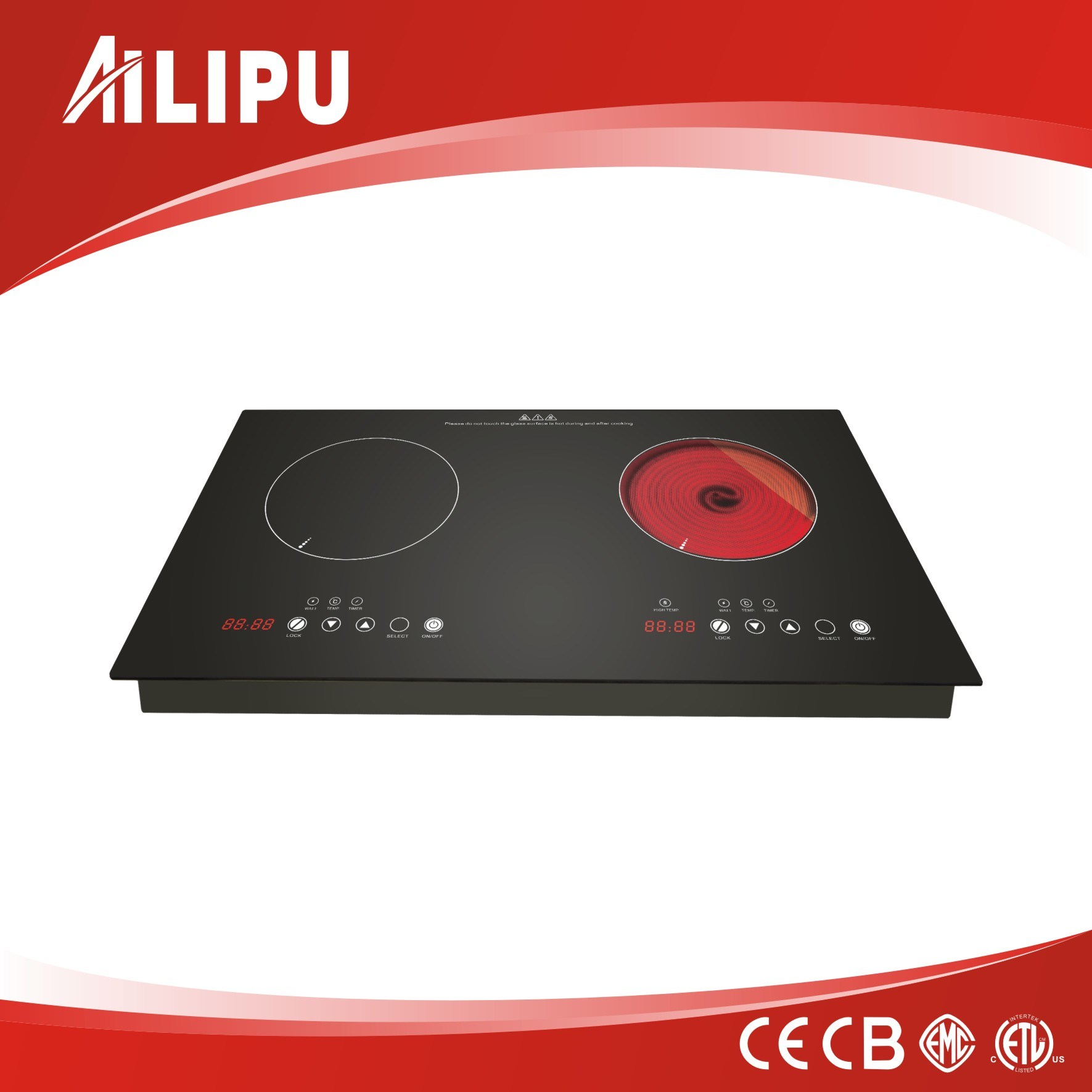 OEM Two Burner Electric Cooktop with Multi-Function