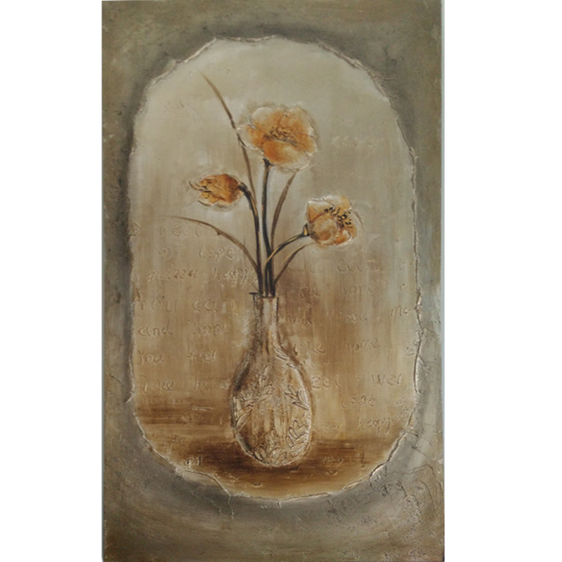 Chinese Oil Painting Floral Still Life Flowers Wood Frame (LH-151000)