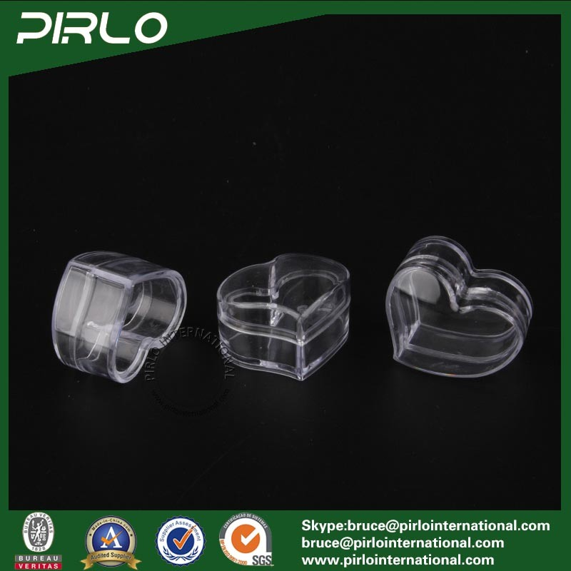 3G Heart Shape Transparent PS Jar with Lid Empty Small Plastic Lip Balm Pure Container Mini Eye Cream Jar Clear Plastic Jar