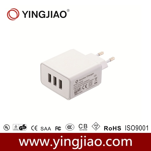 5V 4A 24W 3 Ports USB Charger for Mobile Phone