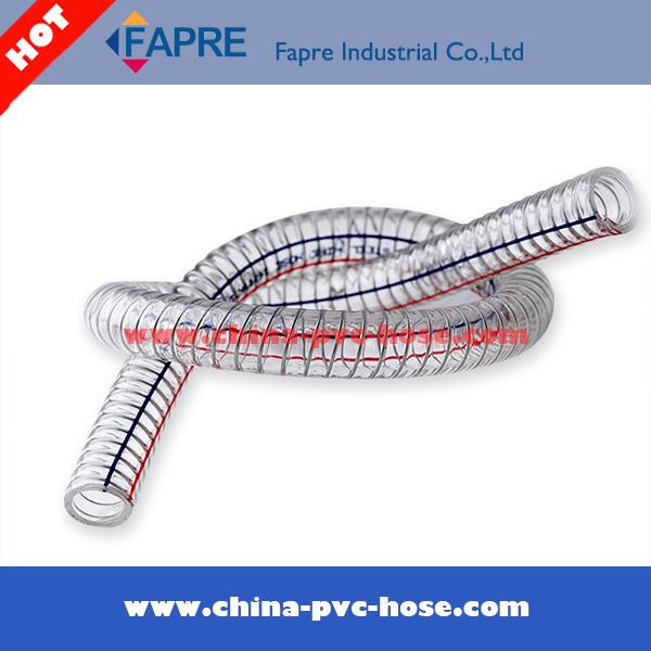 2017 Transparent Flexible PVC Plastic Spring Steel Wire Hose