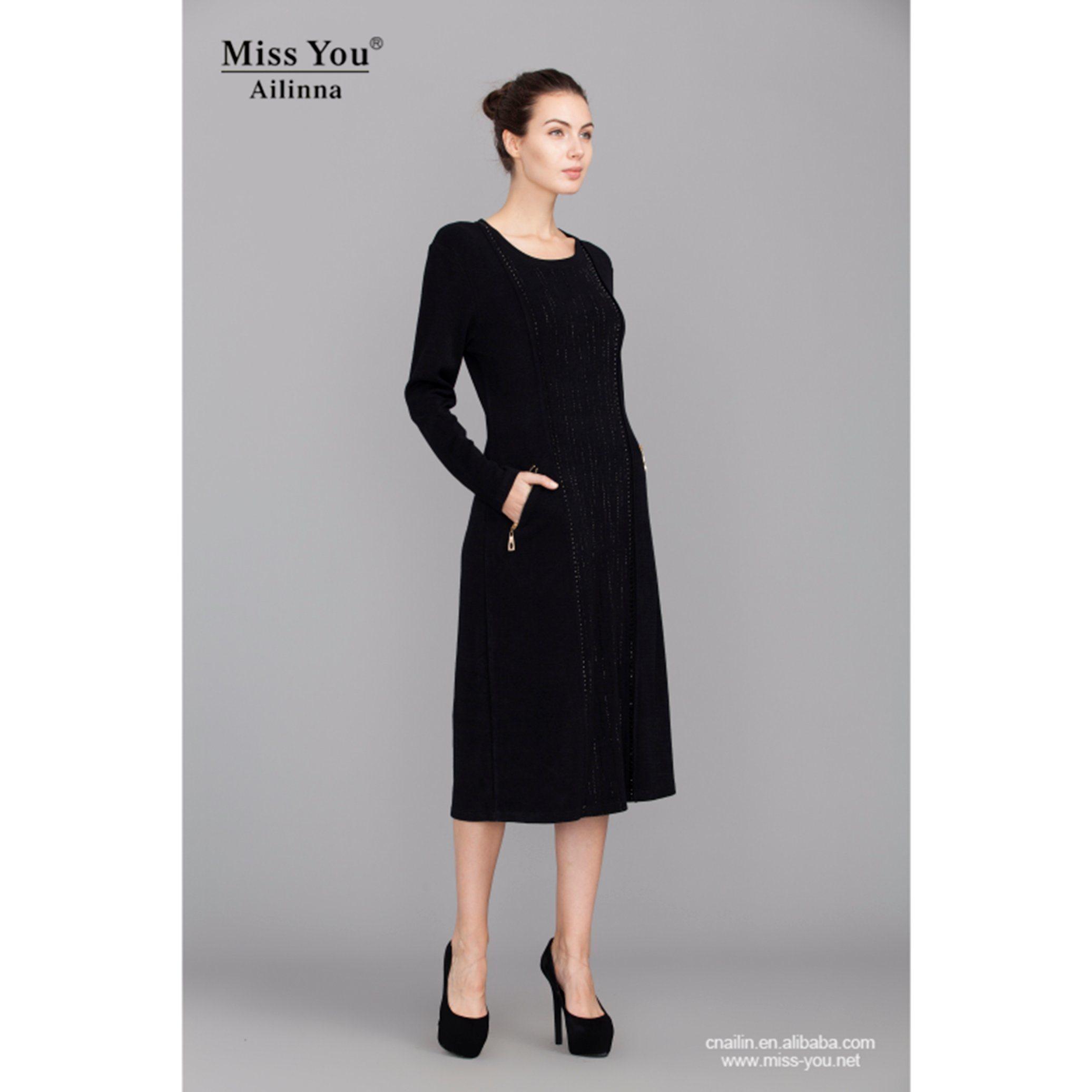 Miss You Ailinna 780163 Ladies Long Black Dress Wool Warm Dress