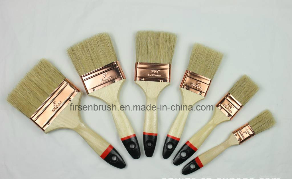 Natural White Bristle Paint Brush with Wooden Handle with Black Tip