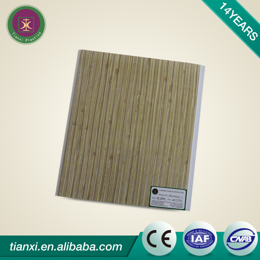 Lamination PVC Ceiling Panels Wood Color with Smooth Surface