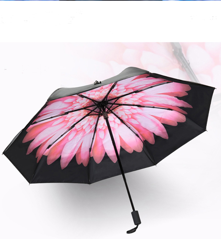21*8k 3 Fold Promotion Sun Umbrella with Different Design printing