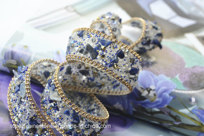 Glass Crystal Sapphire Wedding Dress Hat Clothing Accessories Rhinestones Gems Lace (TS-030)