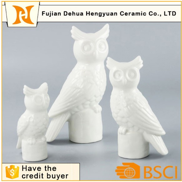 White Ceramic Owl Figurine Candle Holder Craft for Home Decoration