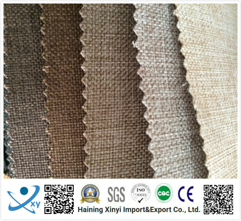 Fashion High Quality Bonded Brushed Cationic Polyester Imitation Cotton Linen Sofa Fabric